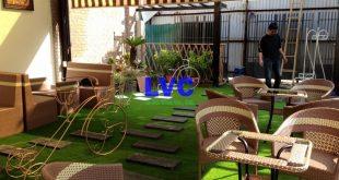 Cỏ nhân tạo trang trí quán cà phê, Cỏ nhân tạo, Công ty Lê Hà Vina, Cỏ nhân tạo để trang trí