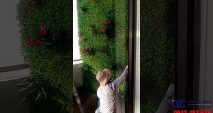 Thi công thảm cỏ nhân tạo dán tường, Cỏ nhân tạo dán tường, Lê Hà Vina, Thảm cỏ, Cỏ giả