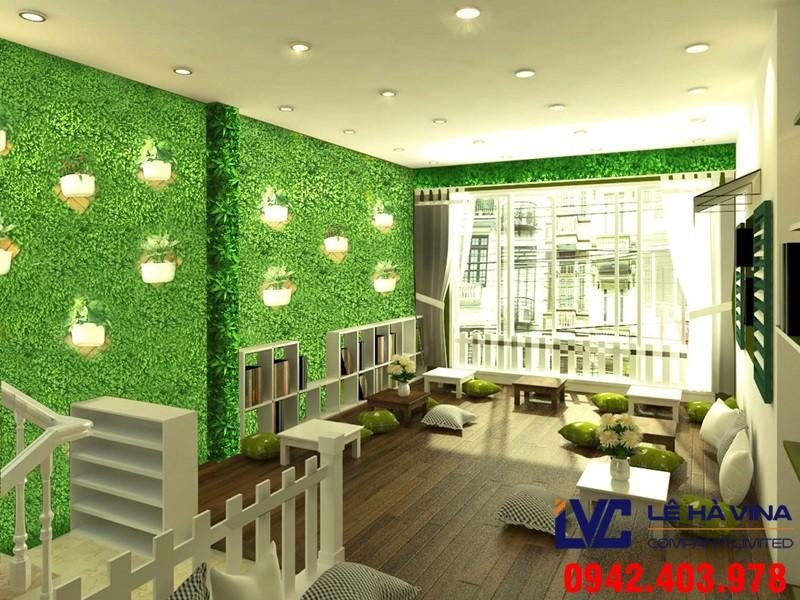 Cỏ nhân tạo để trang trí tường, Cỏ nhân tạo, Lê Hà Vina, Cung cấp cỏ nhân tạo, Trang trí tường bằng cỏ nhân tạo